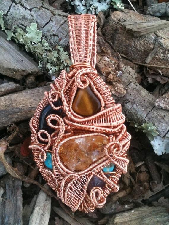 Lucky Stars Heady Wire Wrap Pendant : Citrine, Tiger's Eye, Hawk's Eye, Amethyst, Turquoise (x2)