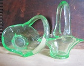 Two Vintage Green Pressed Glass Baskets