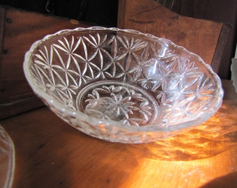 Antique pressed glass serving bowl