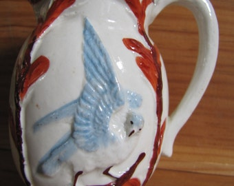 Antique Majolica Creamer with Bluebird