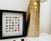 Personalized Grey and Red Hearts - Wedding Gift Black Framed Custom Paper Work - 3D