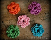 Crochet flowers-Set of 5.