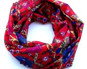 100% Cotton Fluro Red Scarf  With Traditional Ottoman Tulip And Dianthus Figure