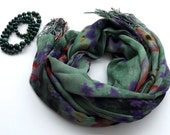 Scarf  green %100 Bamboo orange - purple flowered