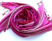 100% Silk Pink-Scarlet Stripes Scarf Traditional Textiled