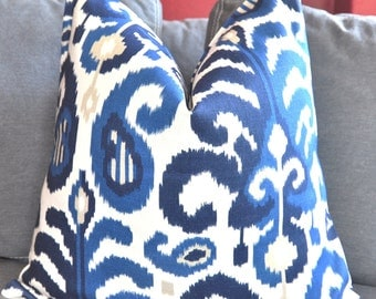 Blue Ikat Pillow Cover, Decorative Pillow Cover, Throw Pillow Cover, Toss Pillow cover,  Home Furnishing,  Home Decor