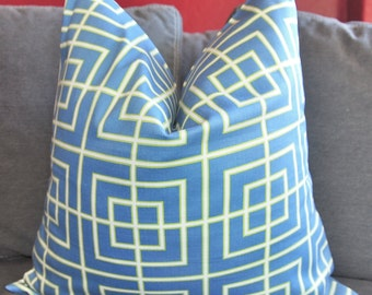 Blue Pillow, Blue Geometric, Pillow Cover, Decorative Pillow, Throw Pillow, Toss Pillow, Sofa Pillow, Home Furnishing,Home Decor