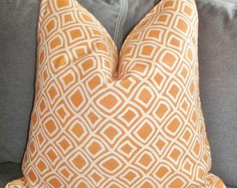Handmade Pillow, Orange pillow, Geometric Pillow,  Decorative Pillow, Throw Pillow, Toss Pillow, Home Furnishing, Home Decor, Home Welcome