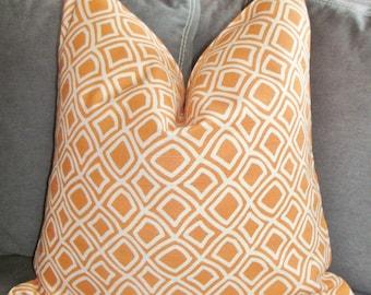 Orange Pillow, Handmade Pillow, Made in USA, Decorative Pillow, Throw Pillow, Toss Pillow, 14x14 inch, Home Furnishing, Home Decor