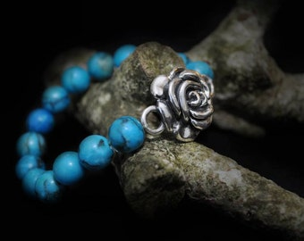 Sterling Silver Rose Bracelet with Turquoise Beads