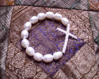Sterling Silver Cross Bracelets with Fresh Water Pears/Semi-Precious Stones