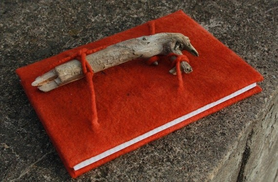"Felted notebook / felt decorated diary / sketchbook ""Chained dragon"" Hand dyed wood crimson Ready to ship"