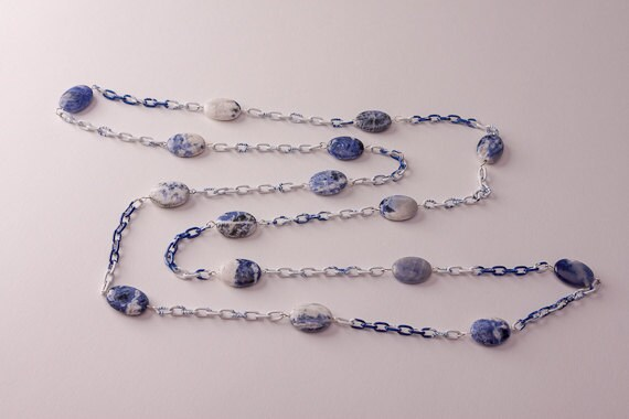 Semi Precious Gemstone Long Necklace, Sodalite Blue and White Natural Stone Necklace with Chain, 48 inches, Wrap Necklace