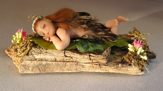 "Angel fairy ""Aubrey"" polymer clay miniature ooak fantasy figuriine hand sculpted doll one of a kind"