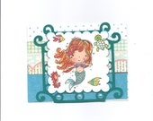 Handmade all occasion Penny Black Mimi the Mermaid card