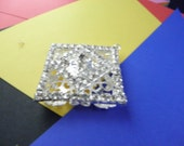 One and  a Half  Inch Square Pendant With Rhinestones 5.99