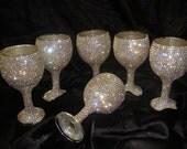 Custom designed handmade set of 6 wine glasses Custom Wedding Toasting For Bride and Groom Table Settings Wedding Gift Decorations