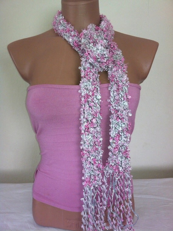 Pink,white,silver scarf with fringes