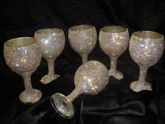 Custom designed handmade set of 6 wine glasses with Czech rhinestones