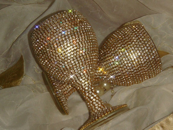 Custom designed handmade pair of golden wine glasses with Czech rhinestones