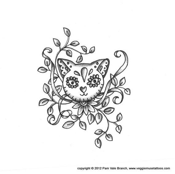 Items Similar To 0026 Sugar Skull Cat Tattoo Design On Etsy