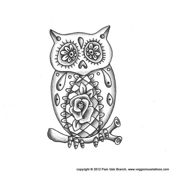 Sugar Skull Owl Tattoo