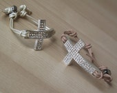 Cross bracelet with leather cord.Cross bracelets.Rhinestone cross bracelet.Leather cross bracelet