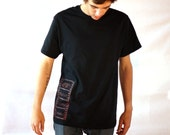 Screenprint Black T-Shirt / Alkaline Men's Short Sleeve Brown Classic Alkaline Film Strip