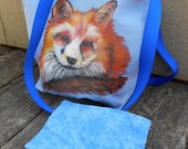 Orange Fox Handpainted, Fully Lined, Blue Cotton Purse with Long Straps