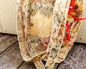 On Sale Spring Victorian Filigree Pattern Handmade  Fully Lined Pink and Cream Purse Handbag