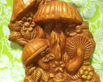 Mushroom Chalkware Plaque Wood Stained Look