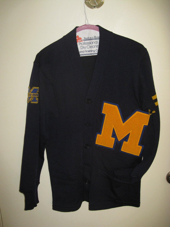 University Of Michigan Letterman Cardigan True Vtg Rare