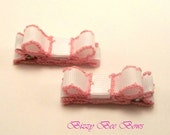 GRAND OPENING SALE - 2 White with Pink Bow clippies