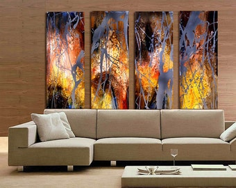 "Large Oil painting by hand made on canvas , 78""X59""  Ready to Hang, Inner Frame, 4 Panels"