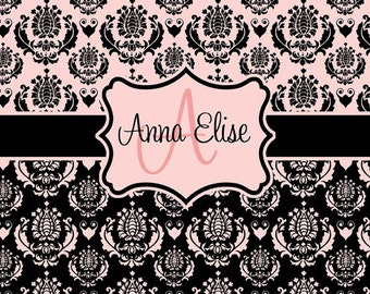 Pink and Black Damask Shower Curtain - MINUET Parisian Personalized Shower Curtain, Custom Monogrammed Curtain