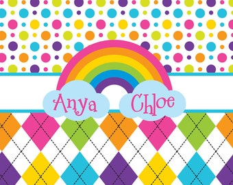 Rainbow and Argyle Kids Shower Curtain - Personalized Shower Curtain, Custom Monogrammed Curtain
