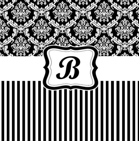 Damask and Stripe Black and White Shower Curtain - Personalized Shower Curtain, Custom Monogrammed Curtain
