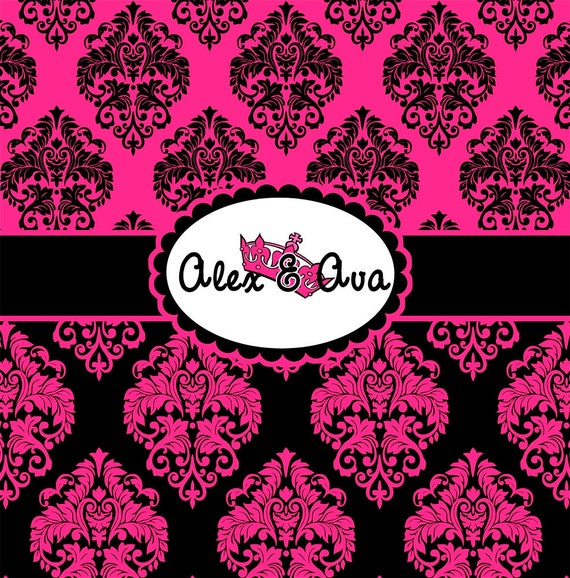 Items similar to damask hot pink and black personalized for Hot pink and black bathroom ideas