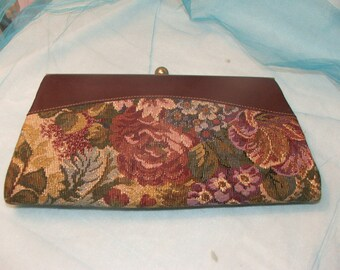 Tapestry and Leather Clutch Purse
