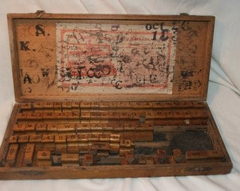 Vintage The Fulton Sign and Price Markers Wood and Rubber Stamp Set Complete Early 1900s