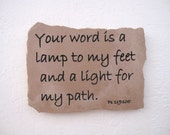 Light For My Path,  Bible Verse Etched in Stone