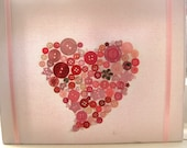 "Love heart button pink canvas 10""x10"""
