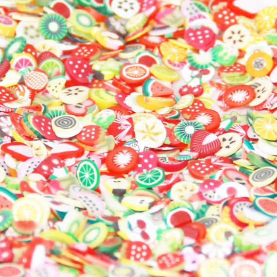 150 Hand-cut Polymer Fruit Clay Canes slices