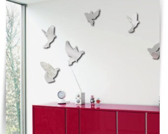 Mirror on the wall, Flying pigeons, Wall decor, Mirror decor, Mirrors