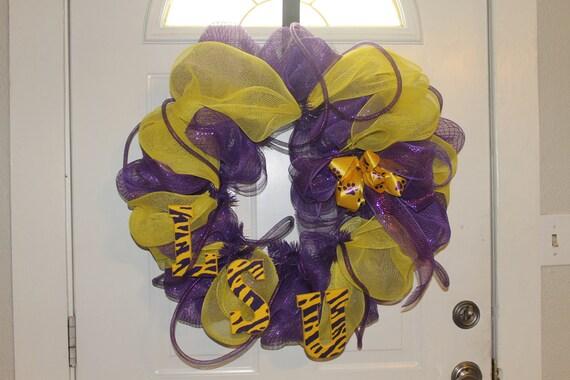 LSU Tigers Purple and Gold Door Wreath
