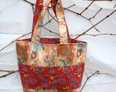Vines of Flowers Medium Tote / Diaper Bag - Beige, Red, Teal and Pink