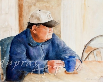 A Cup of Joe - a Watercolor Portrait Painting Limited Edition Giclee Art Print