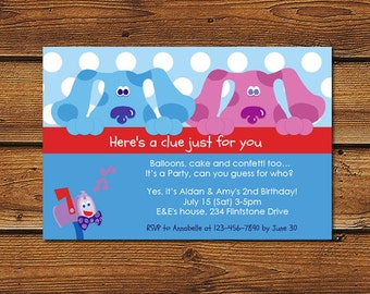 Blues Clues & Magenta Birthday Party Invitations for Boys and Girls