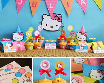 Hello Kitty Birthday Printable, Hello Kitty Party Printables, Hello Kitty Decor, Sanrio Birthday, Hello Kitty Hats, Hello Kitty Favors