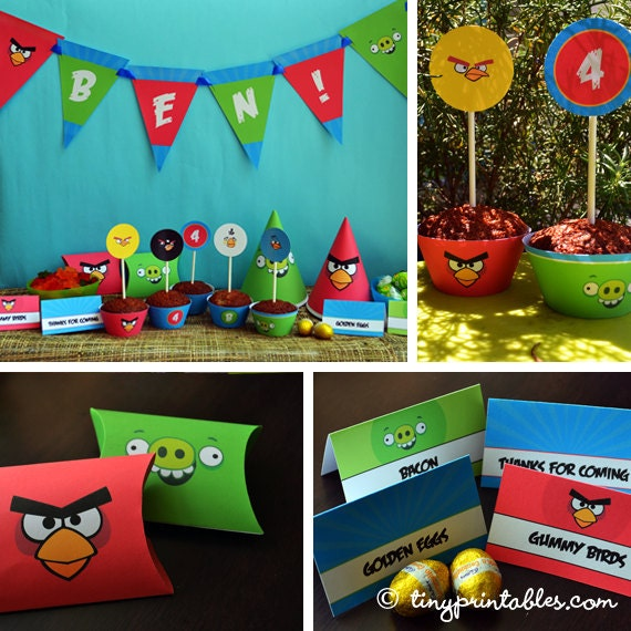 Angry Bird vs Bad Piggies Birthday Party Printables